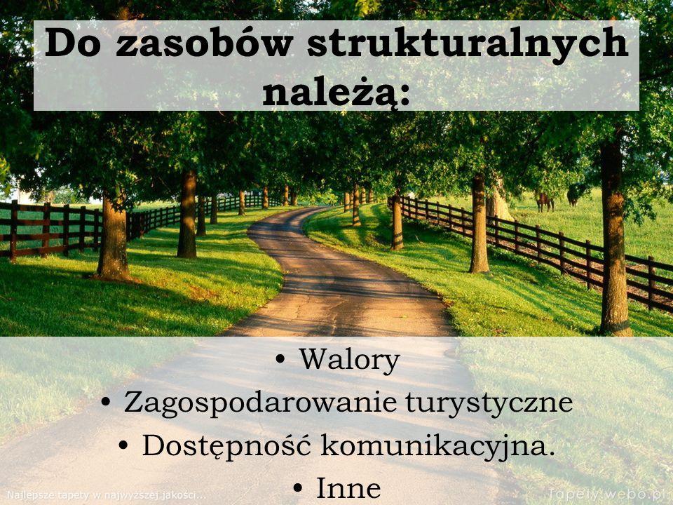 Do zasobów strukturalnych należą: Walory Zagospodarowanie turystyczne Dostępność komunikacyjna. Inne