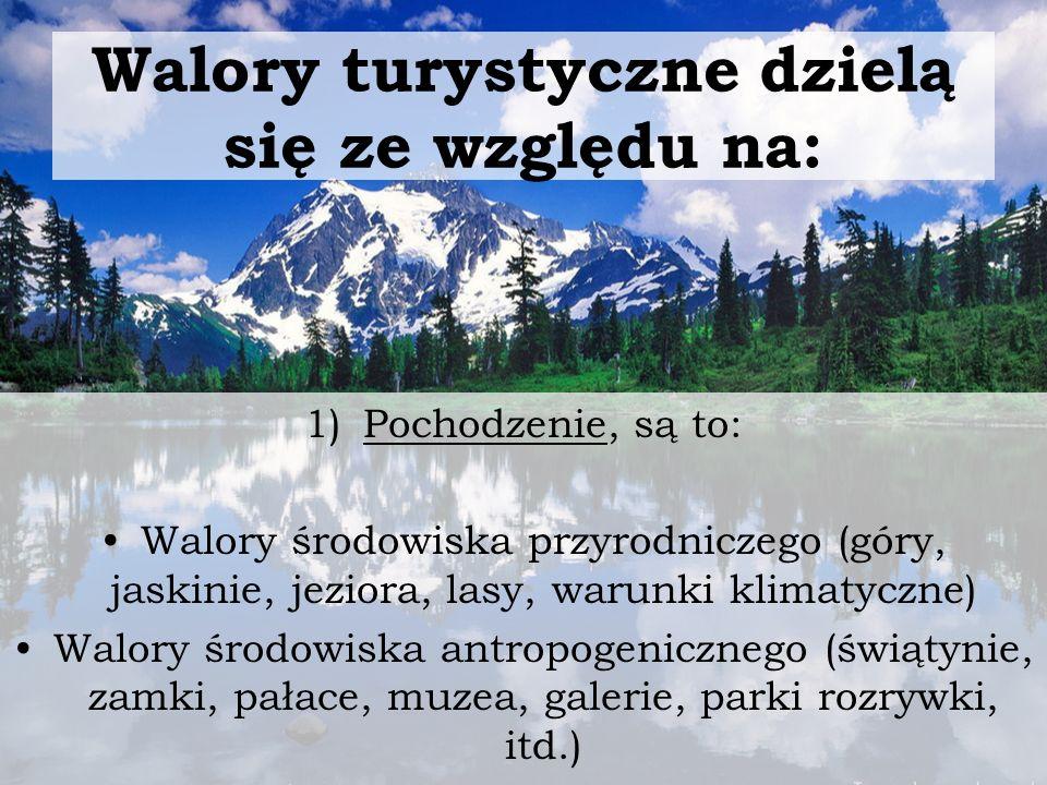 2) Ze względu na sposób wykorzystania walorów Walory wypoczynkowe (morze, plaża, klimat, jeziora, las, góry, itd.) Walory krajoznawcze (jaskinie, pomniki przyrody, parki narodowe i krajobrazowe, zamki, pałace, etc.) Walory specjalistyczne (walory miejsca- kiedy sam obszar jest głównym bodźcem przyjazdu, walory wydarzeń- kiedy impreza, festiwal jest głównym bodźcem przyjazdu)