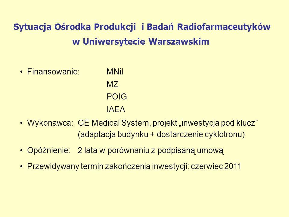 Sytuacja Ośrodka Produkcji i Badań Radiofarmaceutyków w Uniwersytecie Warszawskim Finansowanie:MNiI MZ POIG IAEA Wykonawca:GE Medical System, projekt