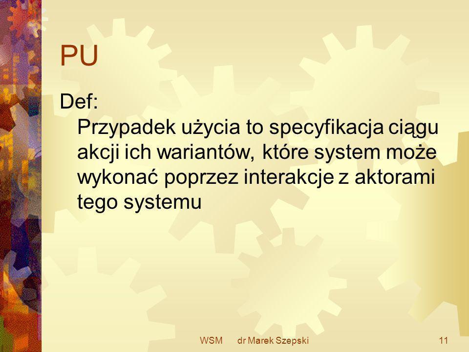 WSM dr Marek Szepski11 PU Def: Przypadek użycia to specyfikacja ciągu akcji ich wariantów, które system może wykonać poprzez interakcje z aktorami teg