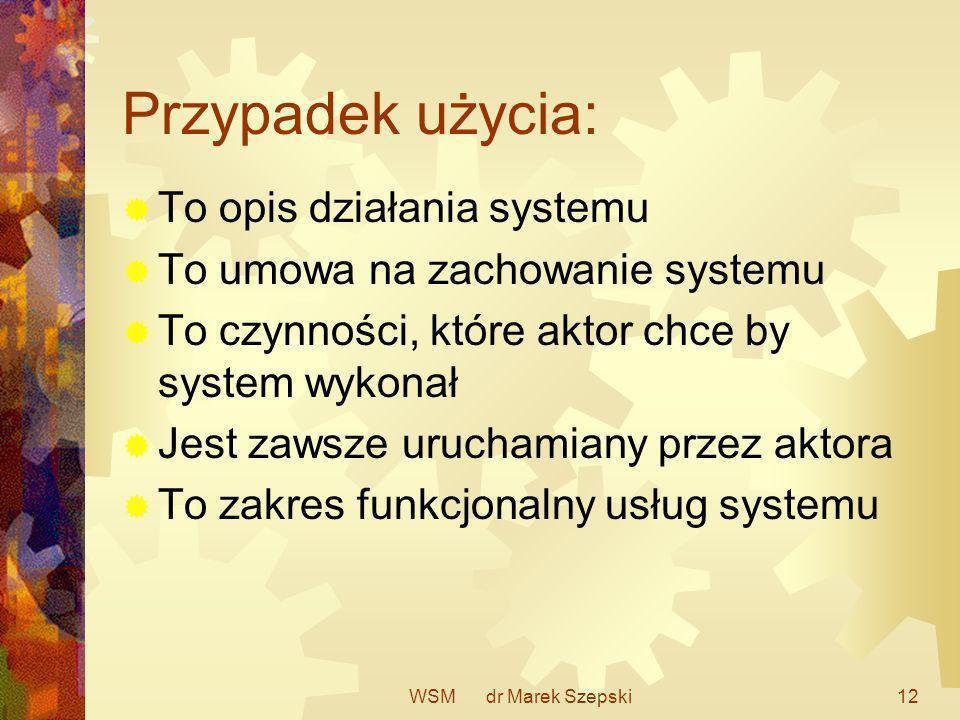 WSM dr Marek Szepski12 Przypadek użycia: To opis działania systemu To umowa na zachowanie systemu To czynności, które aktor chce by system wykonał Jes