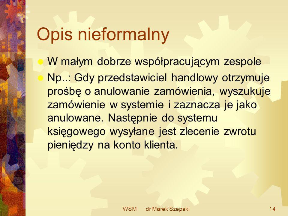 WSM dr Marek Szepski14 Opis nieformalny W małym dobrze współpracującym zespole Np..: Gdy przedstawiciel handlowy otrzymuje prośbę o anulowanie zamówie