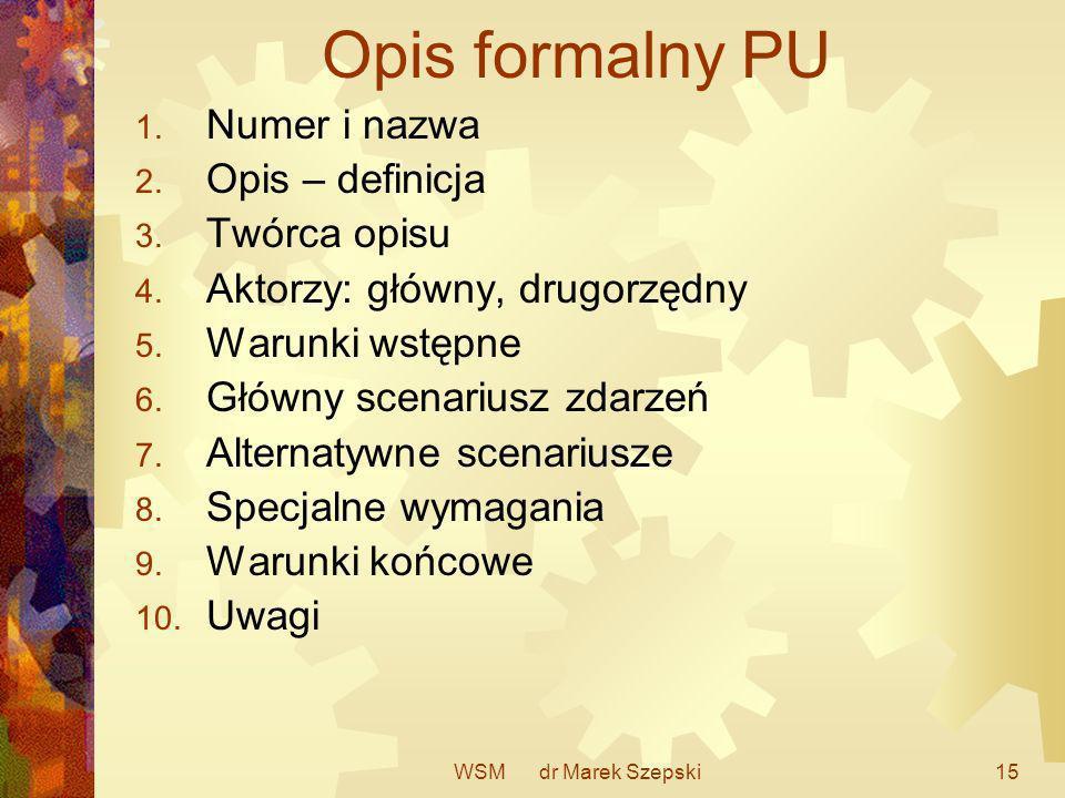 WSM dr Marek Szepski15 Opis formalny PU 1. Numer i nazwa 2. Opis – definicja 3. Twórca opisu 4. Aktorzy: główny, drugorzędny 5. Warunki wstępne 6. Głó