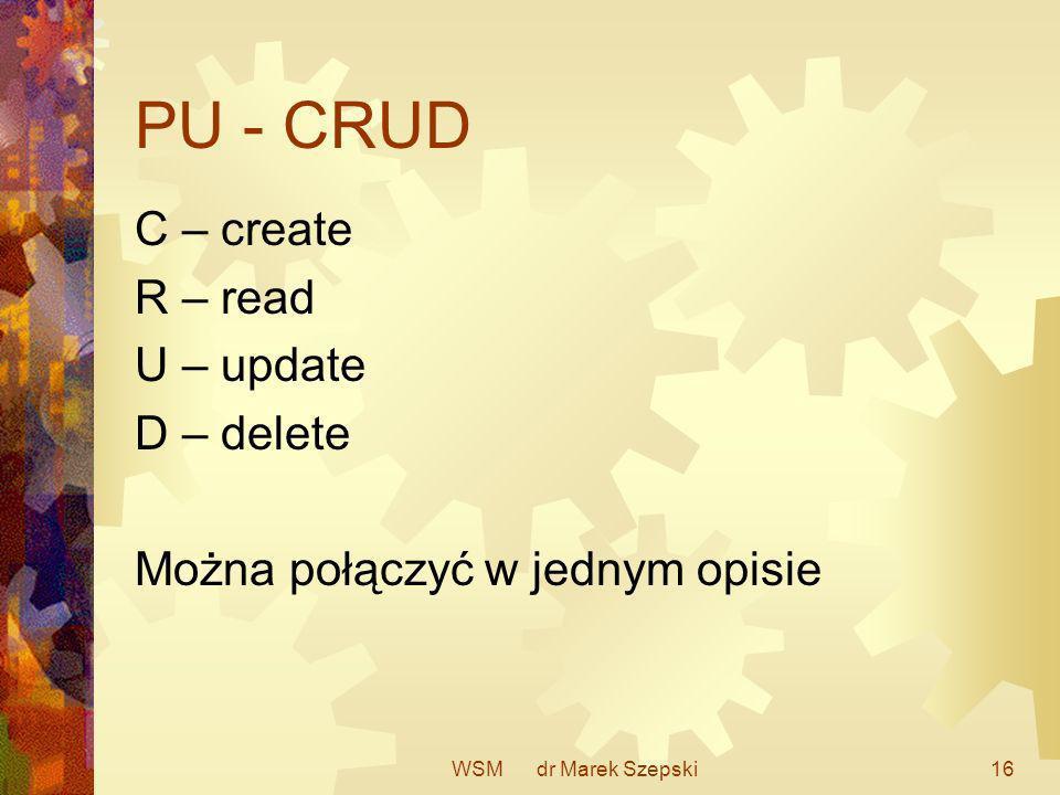 WSM dr Marek Szepski16 PU - CRUD C – create R – read U – update D – delete Można połączyć w jednym opisie