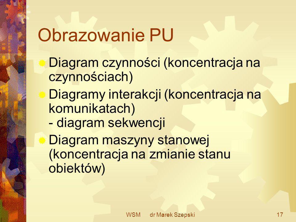 WSM dr Marek Szepski17 Obrazowanie PU Diagram czynności (koncentracja na czynnościach) Diagramy interakcji (koncentracja na komunikatach) - diagram se