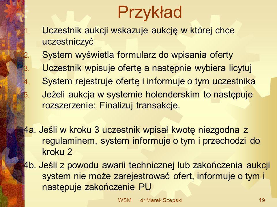 WSM dr Marek Szepski19 Przykład 1. Uczestnik aukcji wskazuje aukcję w której chce uczestniczyć 2. System wyświetla formularz do wpisania oferty 3. Ucz