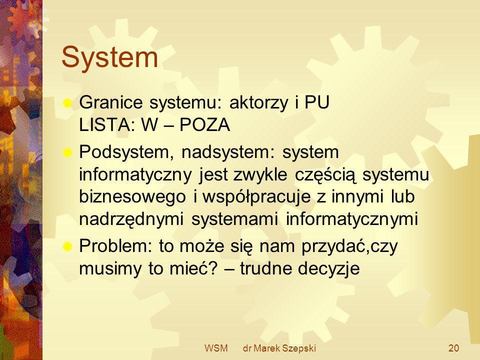 WSM dr Marek Szepski20 System Granice systemu: aktorzy i PU LISTA: W – POZA Podsystem, nadsystem: system informatyczny jest zwykle częścią systemu biz