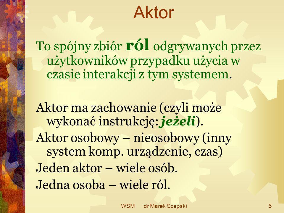 WSM dr Marek Szepski5 Aktor To spójny zbiór ról odgrywanych przez użytkowników przypadku użycia w czasie interakcji z tym systemem. Aktor ma zachowani