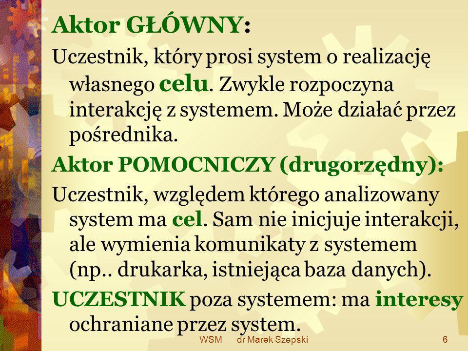 WSM dr Marek Szepski6 Aktor GŁÓWNY: Uczestnik, który prosi system o realizację własnego celu. Zwykle rozpoczyna interakcję z systemem. Może działać pr
