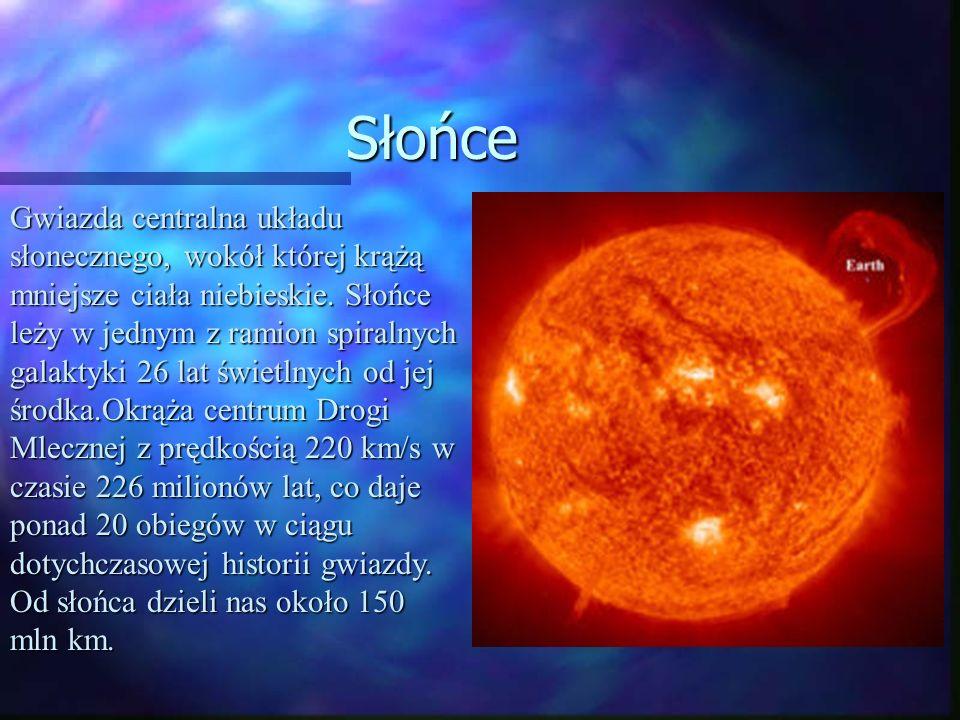 Słońce Gwiazda centralna układu słonecznego, wokół której krążą mniejsze ciała niebieskie. Słońce leży w jednym z ramion spiralnych galaktyki 26 lat ś