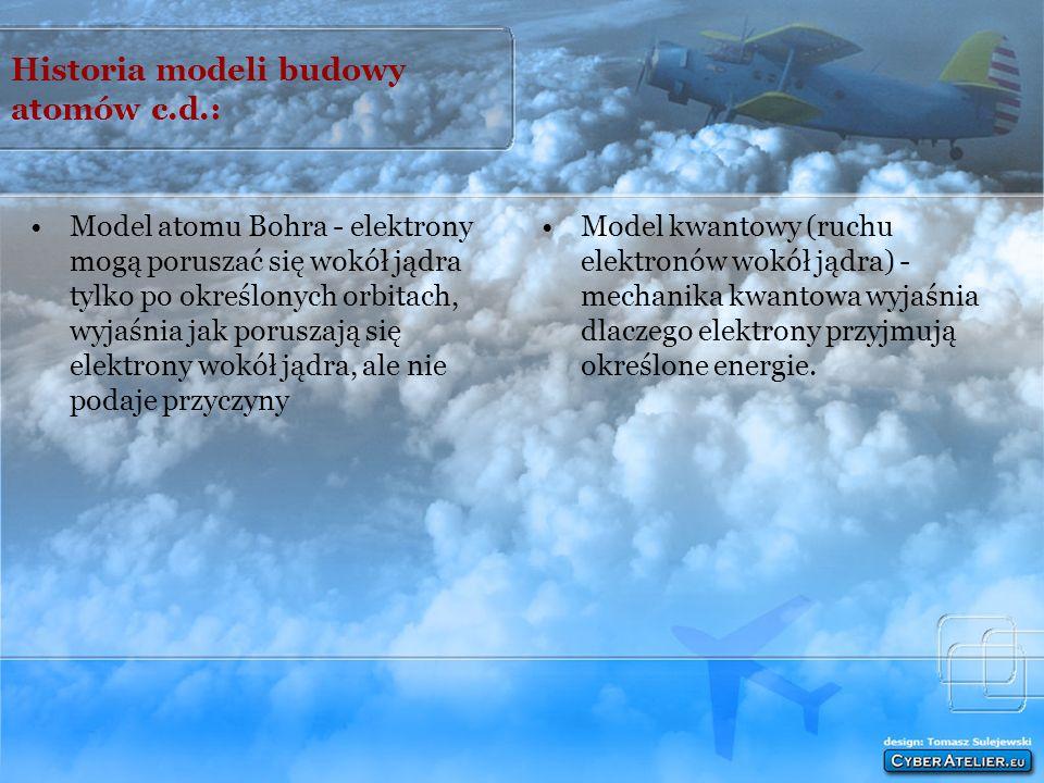 Historia modeli budowy atomów: Niepodzielna kulka - głosił, że atom jest niepodzielną, sztywną, bez struktury wewnętrznej kulką Model rodzynkowy (Thom