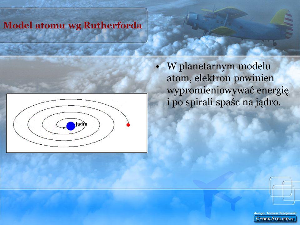 Model atomu wg Rutherforda W planetarnym modelu atom, elektron powinien wypromieniowywać energię i po spirali spaśc na jądro.