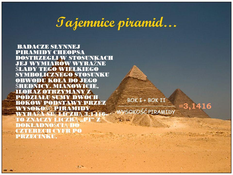 Tajemnice piramid… BADACZE SŁYNNEJ PIRAMIDY CHEOPSA DOSTRZEGLI W STOSUNKACH JEJ WYMIARÓW WYRA Ź NE Ś LADY TEGO WIELKIEGO SYMBOLICZNEGO STOSUNKU OBWODU
