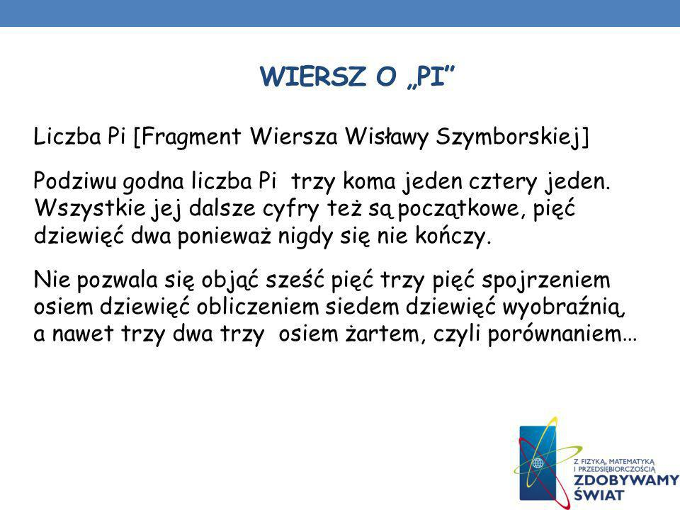 WIERSZ O PI Liczba Pi [Fragment Wiersza Wisławy Szymborskiej] Podziwu godna liczba Pi trzy koma jeden cztery jeden. Wszystkie jej dalsze cyfry też są