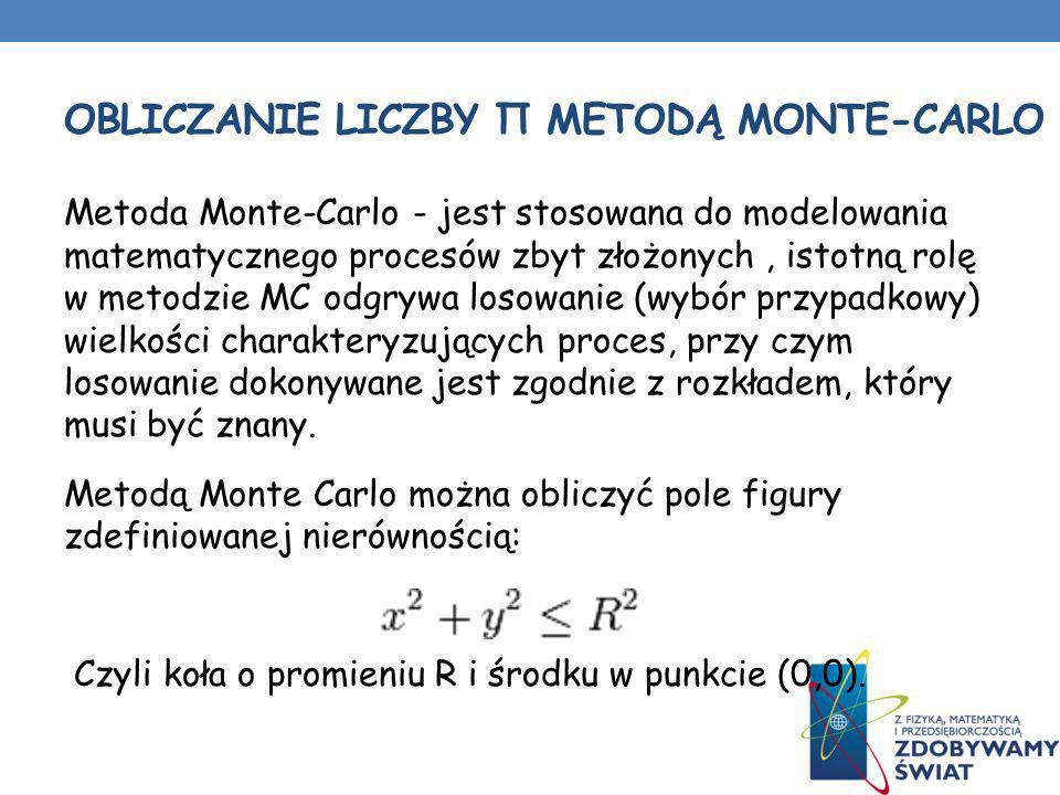 OBLICZANIE LICZBY Π METODĄ MONTE-CARLO Metoda Monte-Carlo - jest stosowana do modelowania matematycznego procesów zbyt złożonych, istotną rolę w metod