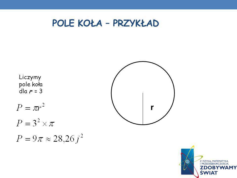 POLE KOŁA – PRZYKŁAD r Liczymy pole koła dla r = 3