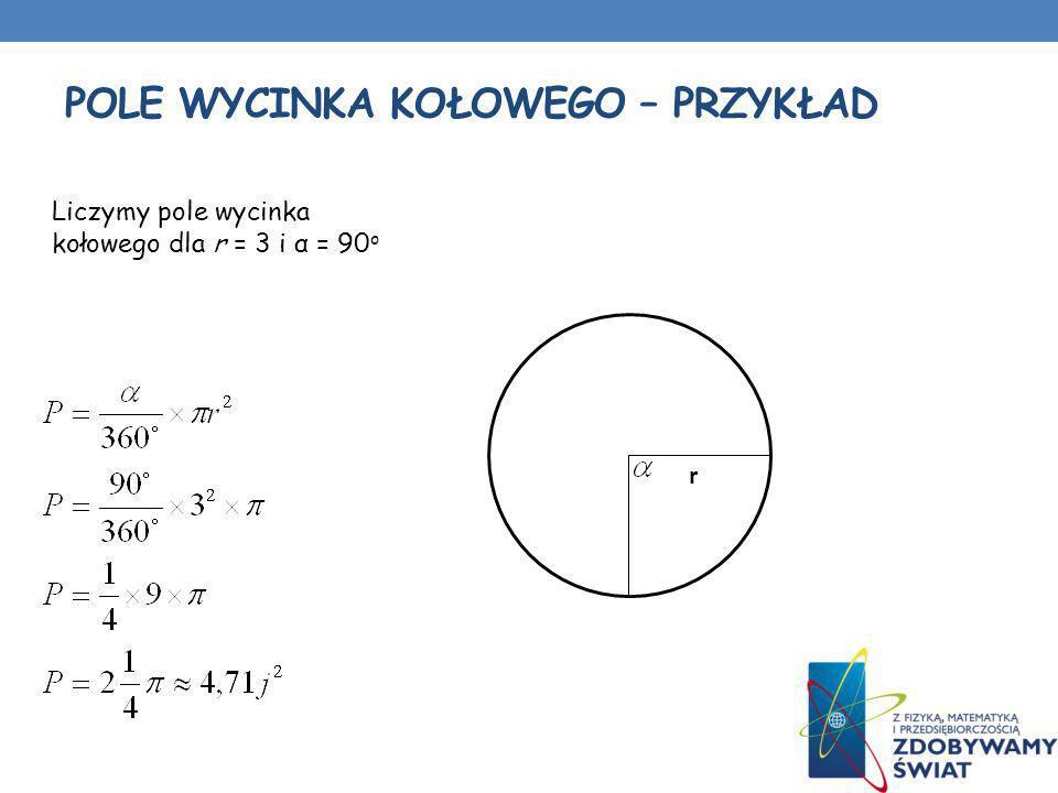 POLE WYCINKA KOŁOWEGO – PRZYKŁAD r Liczymy pole wycinka kołowego dla r = 3 i α = 90 o