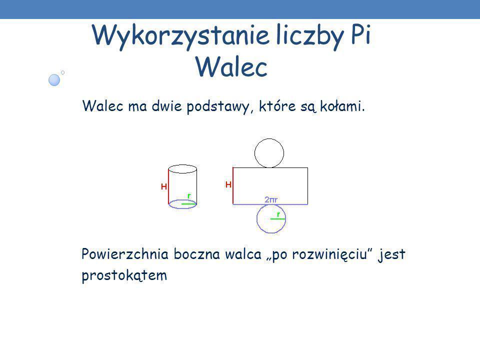 Wykorzystanie liczby Pi Walec Walec ma dwie podstawy, które są kołami. Powierzchnia boczna walca po rozwinięciu jest prostokątem