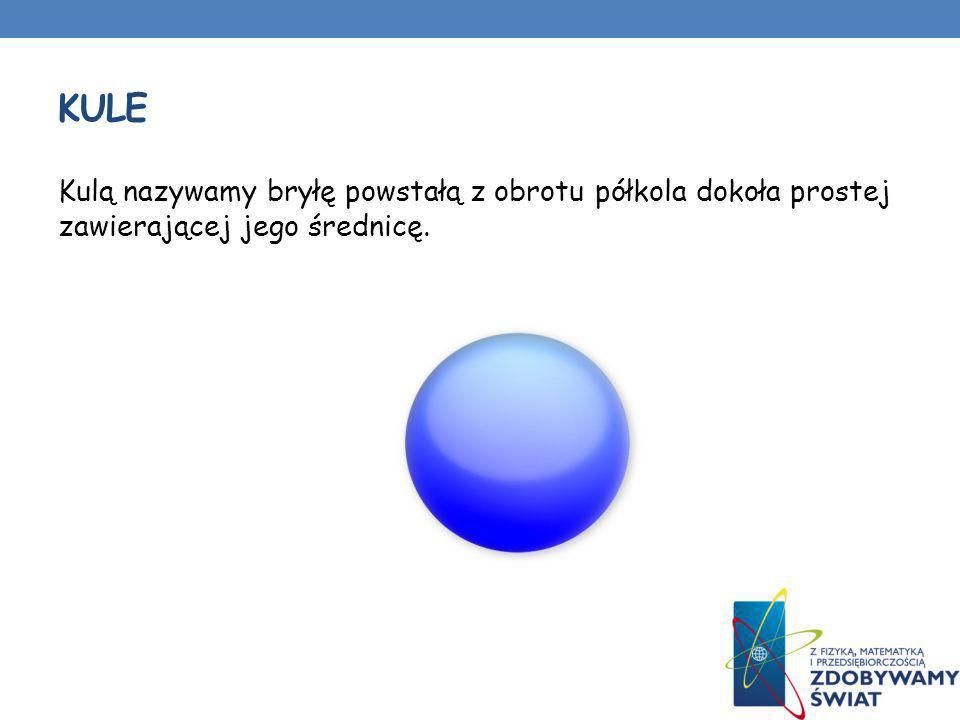KULE Kulą nazywamy bryłę powstałą z obrotu półkola dokoła prostej zawierającej jego średnicę.