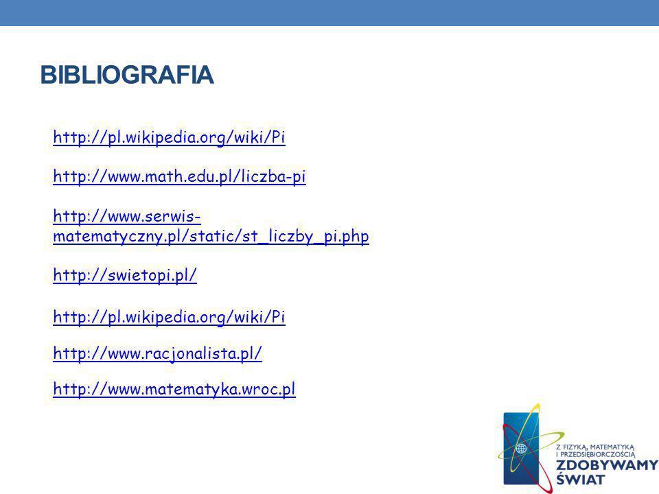 BIBLIOGRAFIA http://pl.wikipedia.org/wiki/Pi http://www.math.edu.pl/liczba-pi http://www.serwis- matematyczny.pl/static/st_liczby_pi.php http://swieto