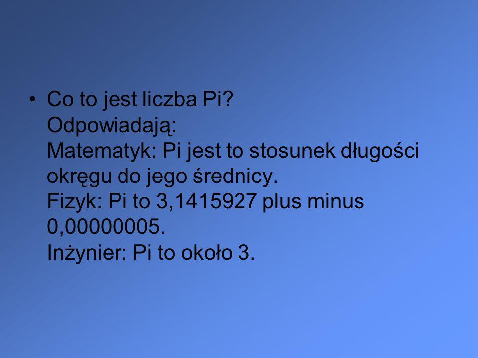 Co to jest liczba Pi? Odpowiadają: Matematyk: Pi jest to stosunek długości okręgu do jego średnicy. Fizyk: Pi to 3,1415927 plus minus 0,00000005. Inży
