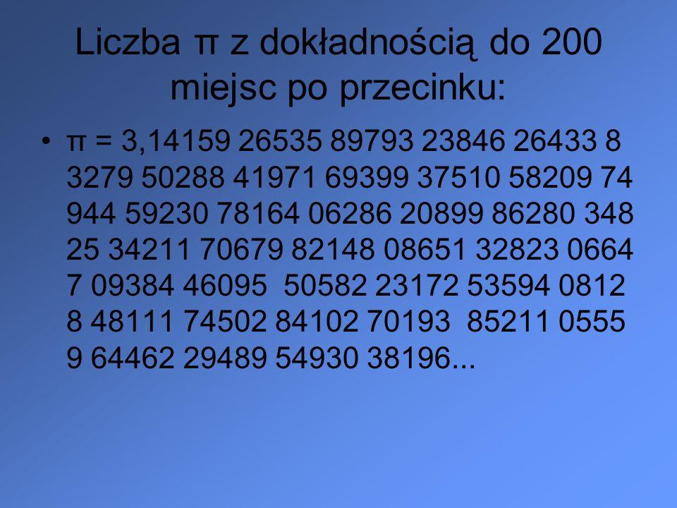 Liczba π z dokładnością do 200 miejsc po przecinku: π = 3,14159 26535 89793 23846 26433 8 3279 50288 41971 69399 37510 58209 74 944 59230 78164 06286