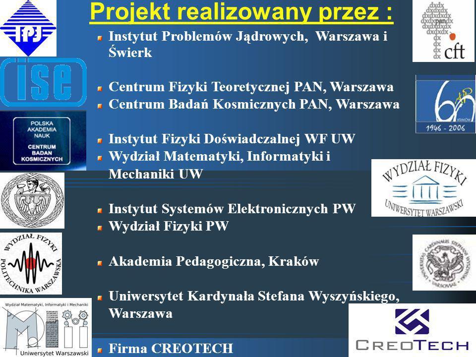 Projekt realizowany przez : Instytut Problemów Jądrowych, Warszawa i Świerk Centrum Fizyki Teoretycznej PAN, Warszawa Centrum Badań Kosmicznych PAN, W