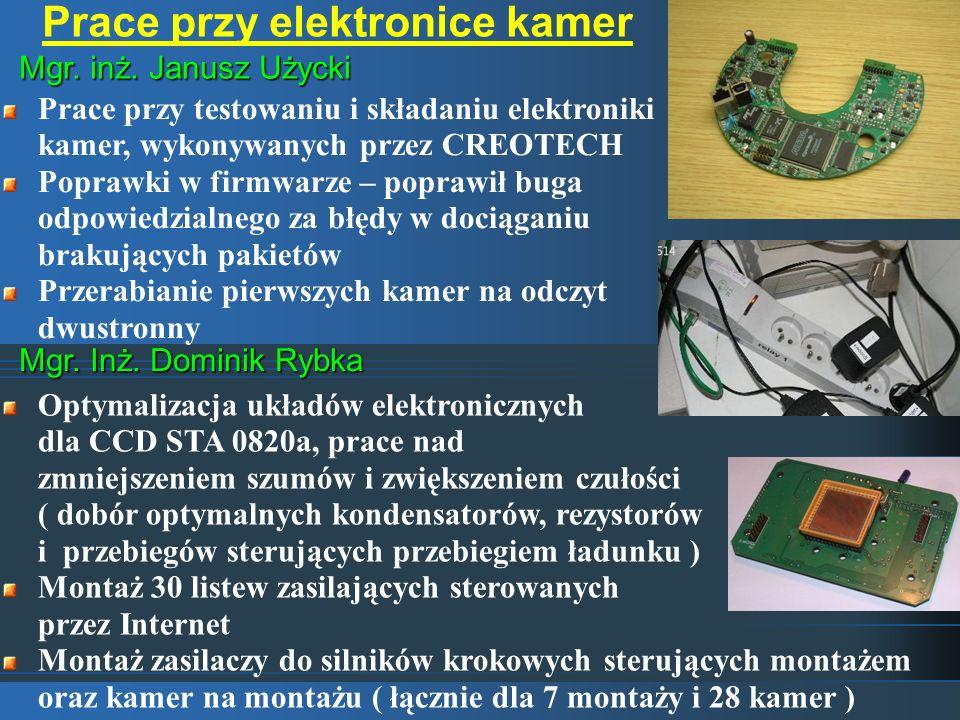 Prace przy elektronice kamer Mgr. inż. Janusz Użycki Mgr. Inż. Dominik Rybka Prace przy testowaniu i składaniu elektroniki kamer, wykonywanych przez C