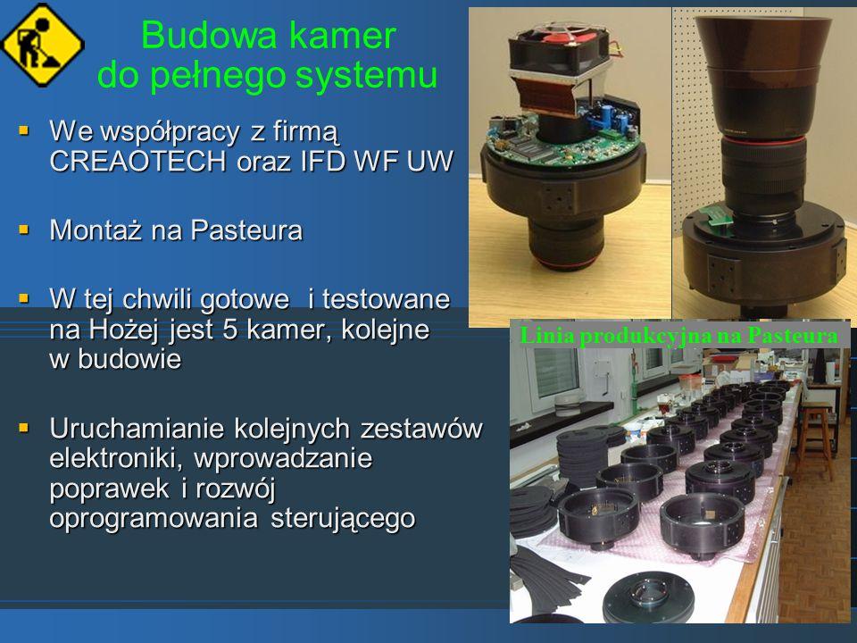 Budowa kamer do pełnego systemu We współpracy z firmą CREAOTECH oraz IFD WF UW We współpracy z firmą CREAOTECH oraz IFD WF UW Montaż na Pasteura Monta