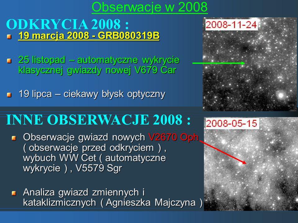 Obserwacje w 2008 ODKRYCIA 2008 : INNE OBSERWACJE 2008 : 19 marcja 2008 - GRB080319B 25 listopad – automatyczne wykrycie klasycznej gwiazdy nowej V679