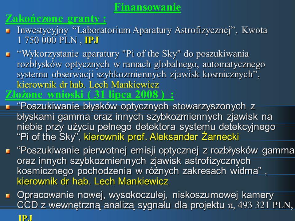 Finansowanie Zakończone granty : Złożone wnioski ( 31 lipca 2008 ) : Poszukiwanie błysków optycznych stowarzyszonych z błyskami gamma oraz innych szyb