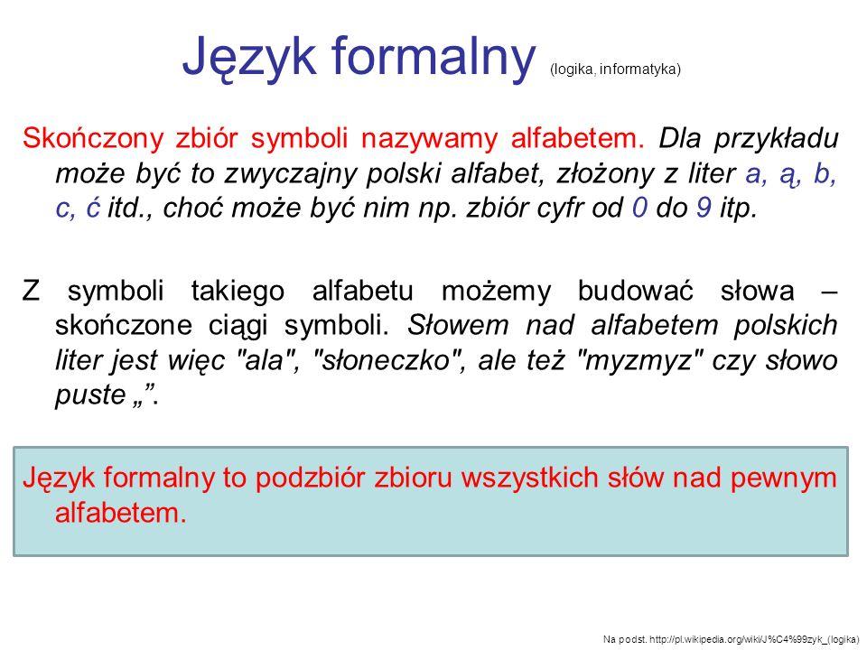 Język formalny (logika, informatyka) Skończony zbiór symboli nazywamy alfabetem. Dla przykładu może być to zwyczajny polski alfabet, złożony z liter a