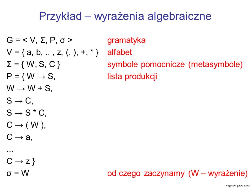 Przykład – wyrażenia algebraiczne G = gramatyka V = { a, b,.., z, (, ), +, * }alfabet Σ = { W, S, C }symbole pomocnicze (metasymbole) P = { W S,lista