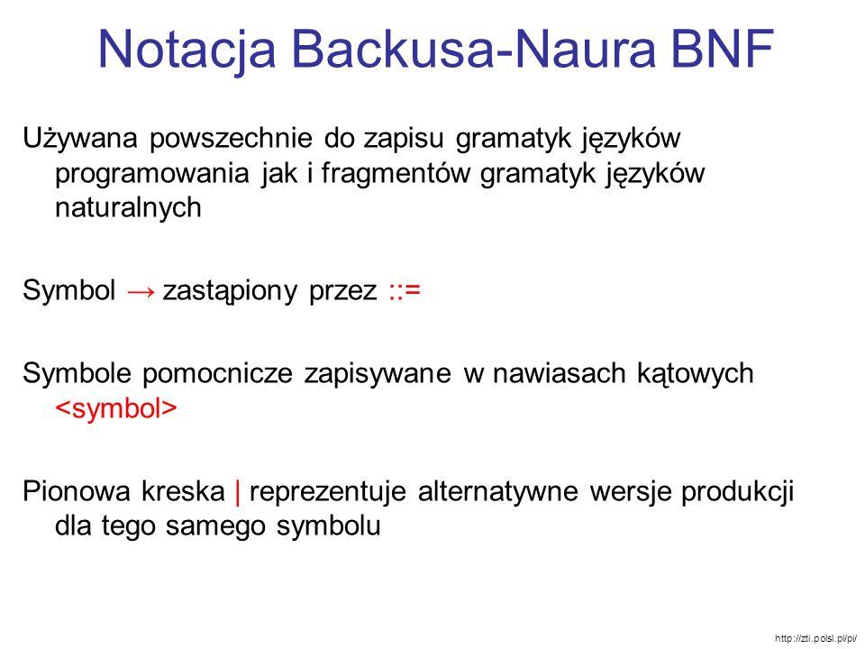 Notacja Backusa-Naura BNF Używana powszechnie do zapisu gramatyk języków programowania jak i fragmentów gramatyk języków naturalnych Symbol zastąpiony