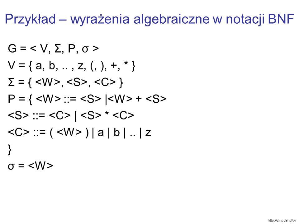 Przykład – wyrażenia algebraiczne w notacji BNF G = V = { a, b,.., z, (, ), +, * } Σ = {,, } P = { ::= | + ::= | * ::= ( ) | a | b |.. | z } σ = http:
