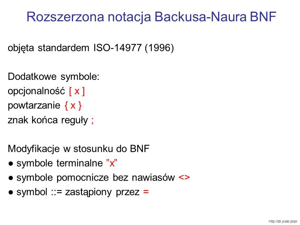 Rozszerzona notacja Backusa-Naura BNF objęta standardem ISO-14977 (1996) Dodatkowe symbole: opcjonalność [ x ] powtarzanie { x } znak końca reguły ; M
