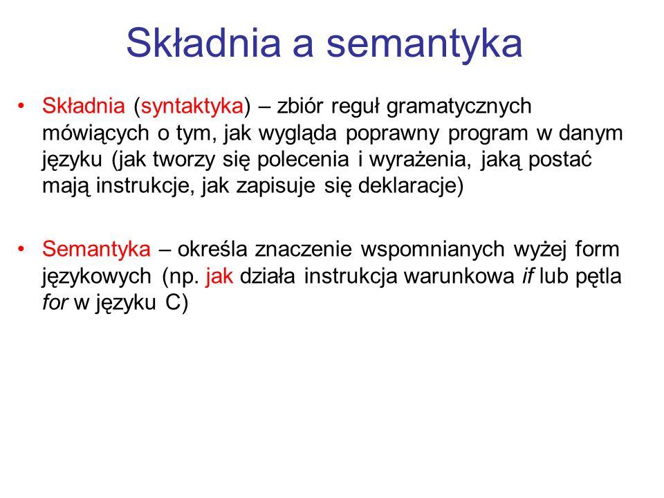 Składnia (syntaktyka) – zbiór reguł gramatycznych mówiących o tym, jak wygląda poprawny program w danym języku (jak tworzy się polecenia i wyrażenia,