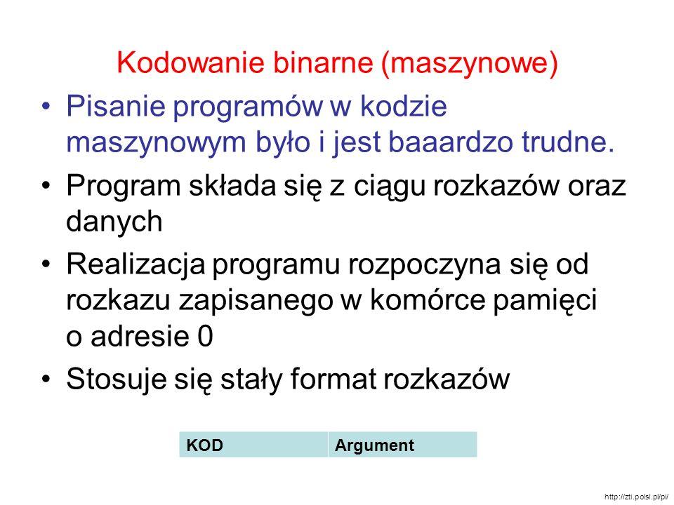 Kodowanie binarne (maszynowe) Pisanie programów w kodzie maszynowym było i jest baaardzo trudne. Program składa się z ciągu rozkazów oraz danych Reali