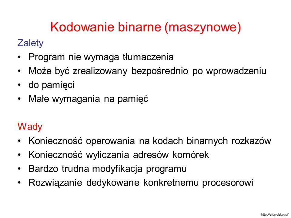Kodowanie binarne (maszynowe) Zalety Program nie wymaga tłumaczenia Może być zrealizowany bezpośrednio po wprowadzeniu do pamięci Małe wymagania na pa