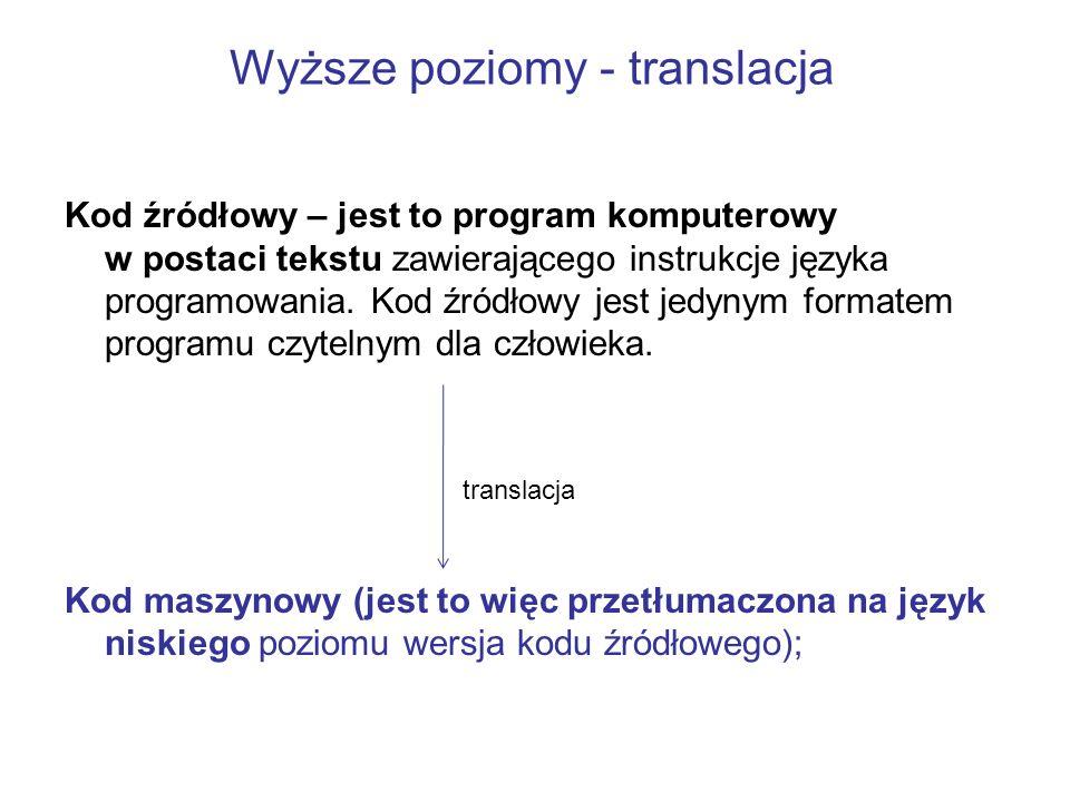 Wyższe poziomy - translacja Kod źródłowy – jest to program komputerowy w postaci tekstu zawierającego instrukcje języka programowania. Kod źródłowy je