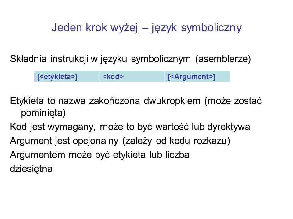 Jeden krok wyżej – język symboliczny Składnia instrukcji w języku symbolicznym (asemblerze) Etykieta to nazwa zakończona dwukropkiem (może zostać pomi
