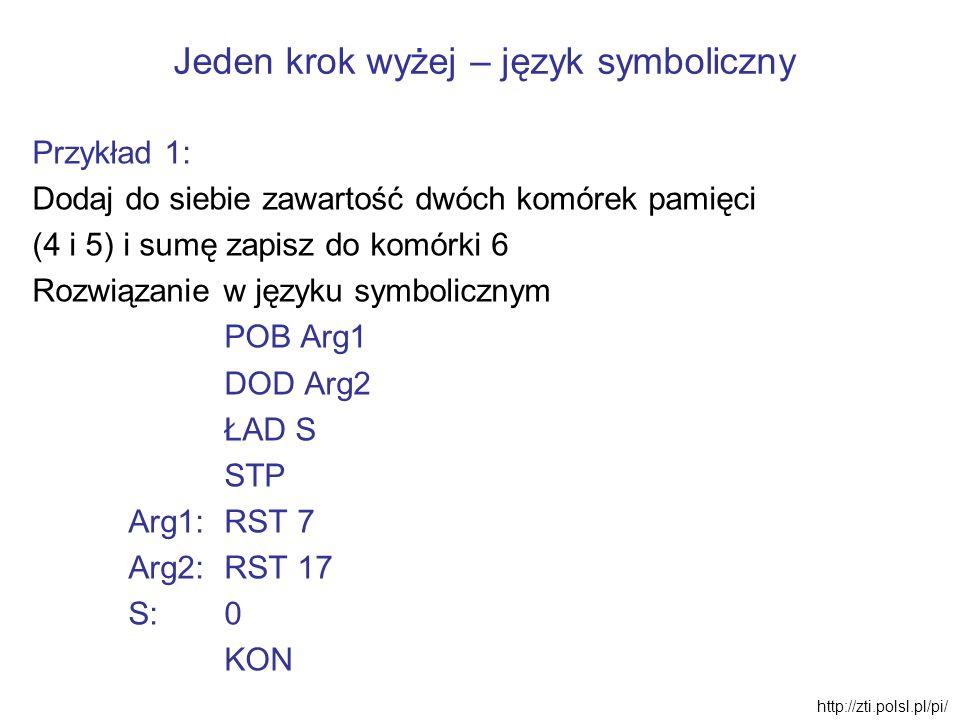 Jeden krok wyżej – język symboliczny Przykład 1: Dodaj do siebie zawartość dwóch komórek pamięci (4 i 5) i sumę zapisz do komórki 6 Rozwiązanie w języ