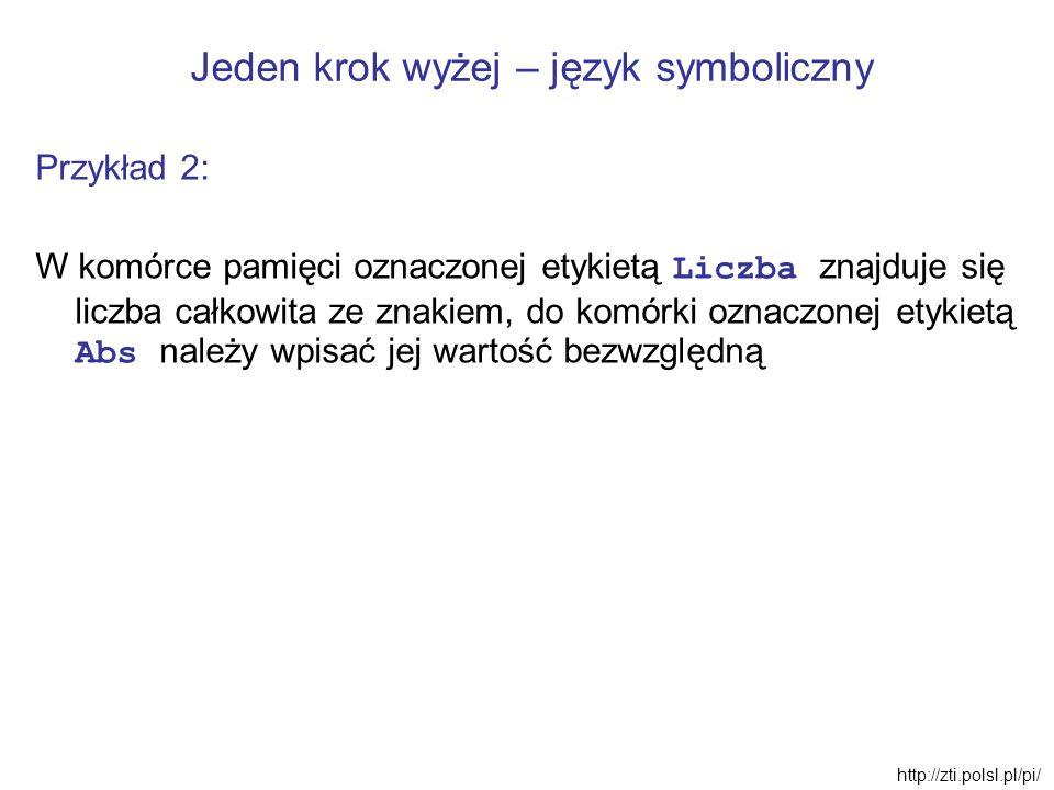 Jeden krok wyżej – język symboliczny Przykład 2: W komórce pamięci oznaczonej etykietą Liczba znajduje się liczba całkowita ze znakiem, do komórki ozn