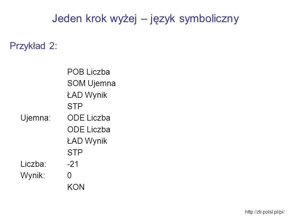 Jeden krok wyżej – język symboliczny Przykład 2: POB Liczba SOM Ujemna ŁAD Wynik STP Ujemna:ODE Liczba ODE Liczba ŁAD Wynik STP Liczba: -21 Wynik: 0 K
