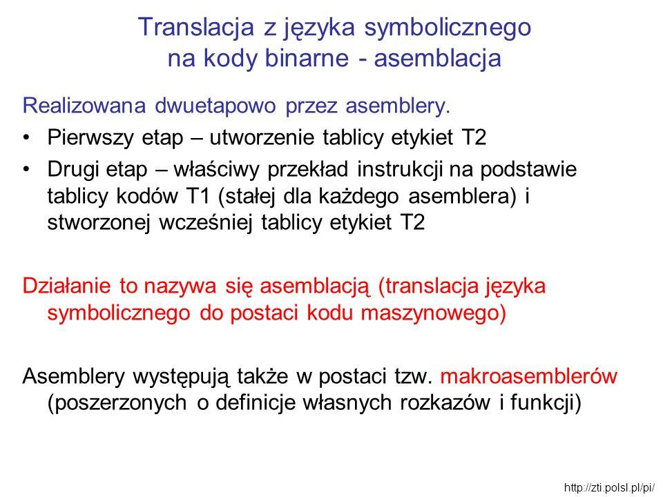 Translacja z języka symbolicznego na kody binarne - asemblacja Realizowana dwuetapowo przez asemblery. Pierwszy etap – utworzenie tablicy etykiet T2 D