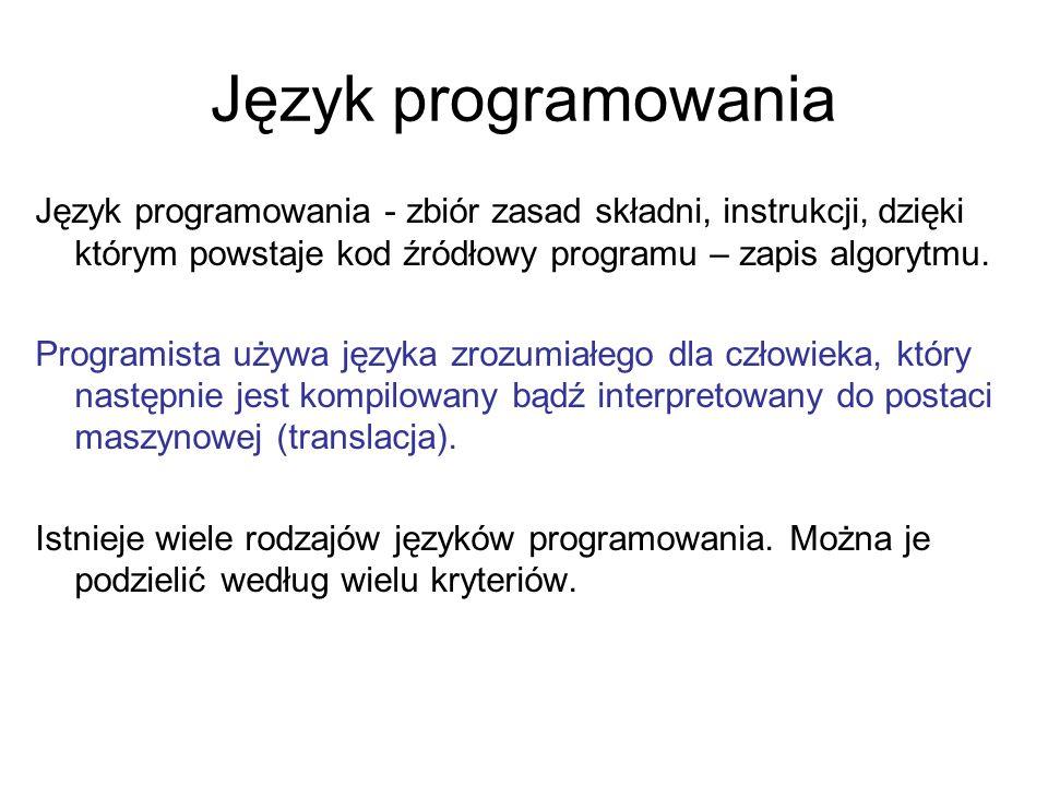 Język programowania Język programowania - zbiór zasad składni, instrukcji, dzięki którym powstaje kod źródłowy programu – zapis algorytmu. Programista