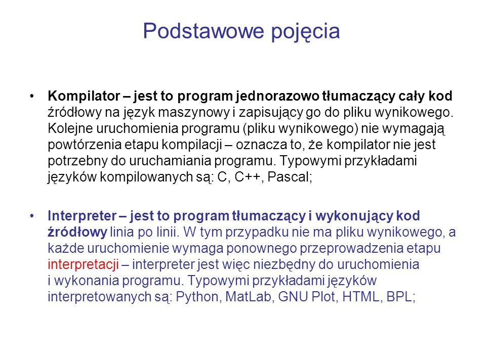 Podstawowe pojęcia Kompilator – jest to program jednorazowo tłumaczący cały kod źródłowy na język maszynowy i zapisujący go do pliku wynikowego. Kolej