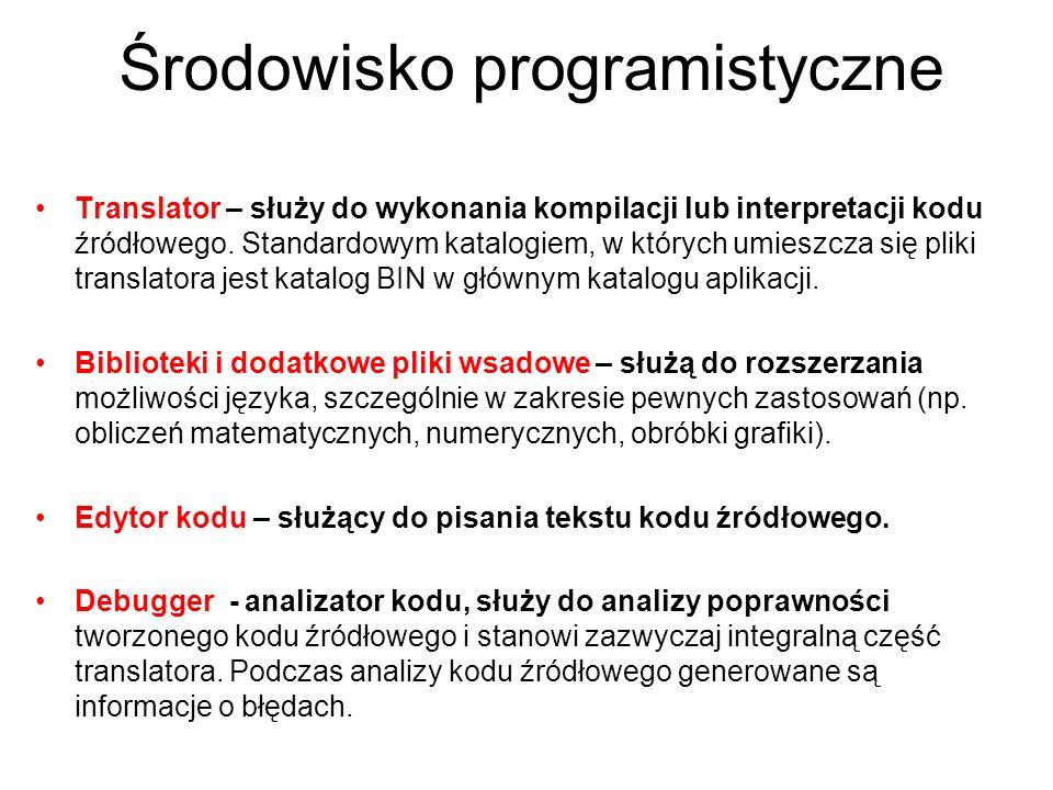 Środowisko programistyczne Translator – służy do wykonania kompilacji lub interpretacji kodu źródłowego. Standardowym katalogiem, w których umieszcza