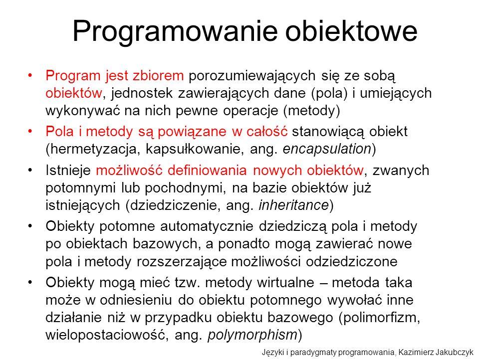 Programowanie obiektowe Program jest zbiorem porozumiewających się ze sobą obiektów, jednostek zawierających dane (pola) i umiejących wykonywać na nic