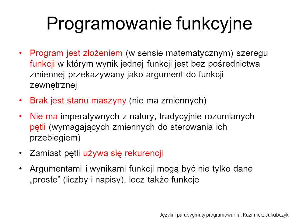 Programowanie funkcyjne Program jest złożeniem (w sensie matematycznym) szeregu funkcji w którym wynik jednej funkcji jest bez pośrednictwa zmiennej p